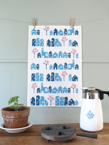 Blue Houses Tea Towel