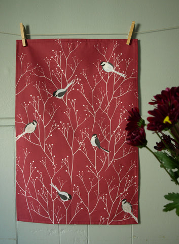 Chickadee Tea Towel in Wine Red