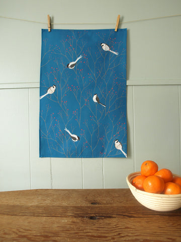 Chickadee Tea Towel in Persian Blue
