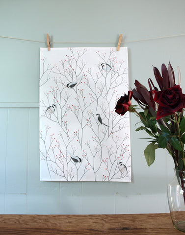 Chickadee Tea Towel in Grays and Red