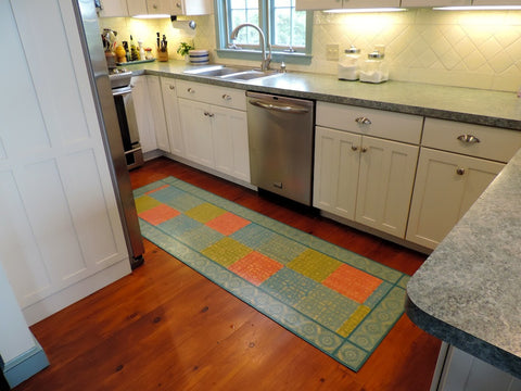 Color Blocks in Turquoise Canvas Floor Cloth