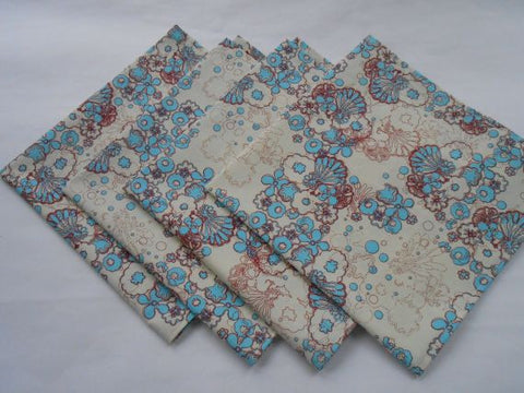 Fabric Napkins in Cream, Turquoise and Maroon Flowers Set of 4 by Pipsqueaks