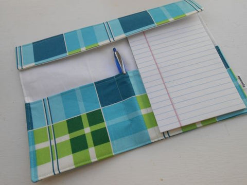 Fabric Folio in Blue & Green Plaid by Pipsqueaks