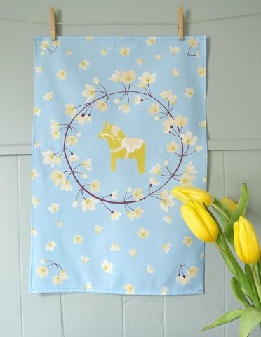 Yellow Blossoms / Dala Horse Tea Towel