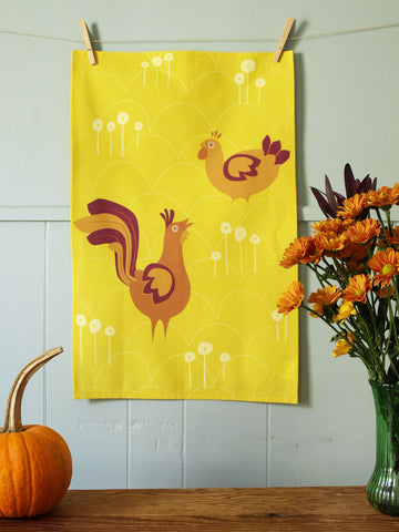 Golden Hen and Rooster Tea Towel