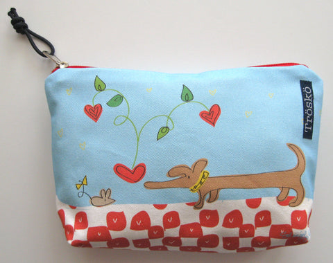 Dacshie + Mouse Heart Zipper Bag