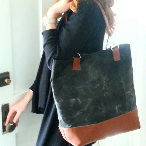 Maine Waxed Canvas and Leather Tote