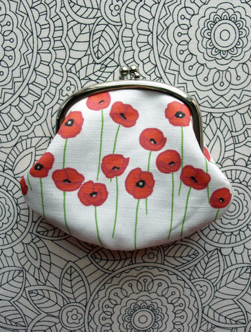 Red Poppies Clasp Purse