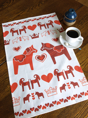 Red Dala Horse Tea Towel