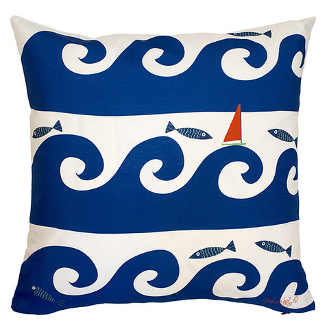 Wild Waves in Blue Pillow Cover