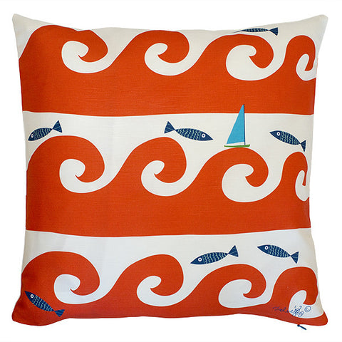 Wild Waves in Red Pillow Cover