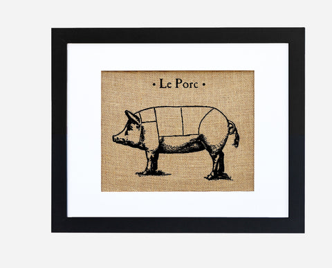 Le Porc Burlap Framed Art