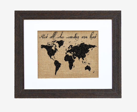 """Wander"" Burlap Framed Art"
