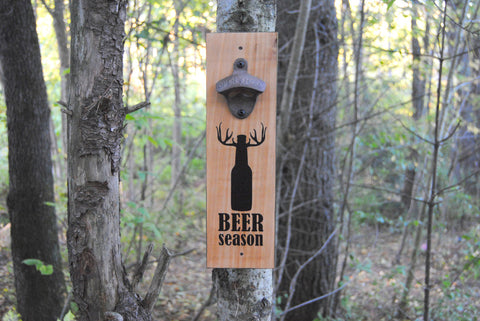 """Beer Season"" wall mounted bottle opener"