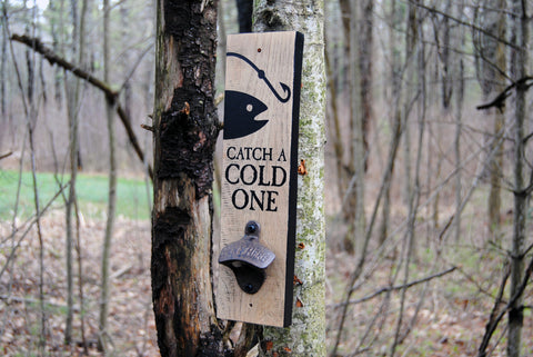 """Catch A Cold One"" wall mounted bottle opener"