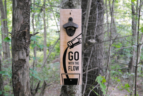 """Go With The Flow"" wall mounted bottle opener"