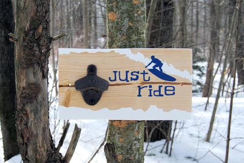"""Just Ride"" wall mounted bottle opener"