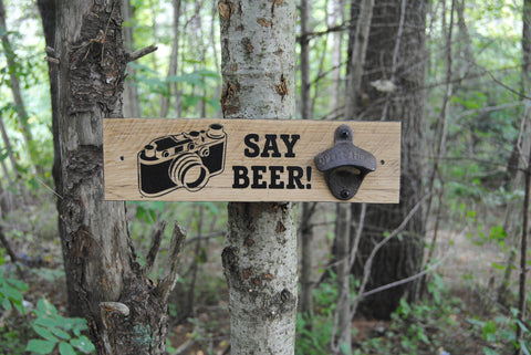 """Say Beer"" wall mounted bottle opener"