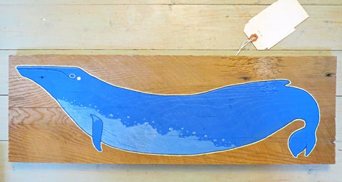 """Baby Blue"" Original Painting on Reclaimed Maine Barn Wood"