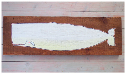 """Moby the White"" Original Painting on Reclaimed Maine Barn Wood"