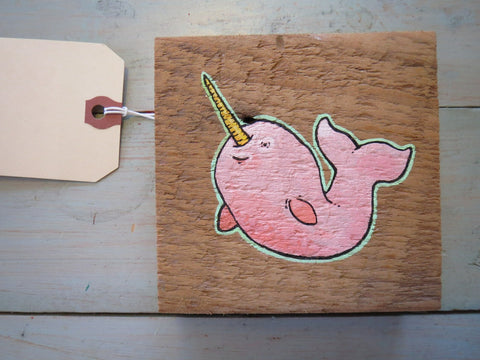 Optimistic Narwhal Original Painting on Reclaimed Maine Barn Wood