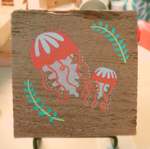 Jellyfish Motif Original Painting on Reclaimed Maine Barn Wood