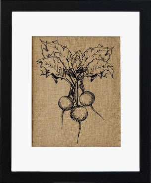 """Radish"" Burlap Framed Art"