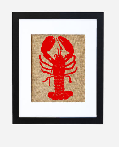 """Red Lobster"" Burlap Framed Art"
