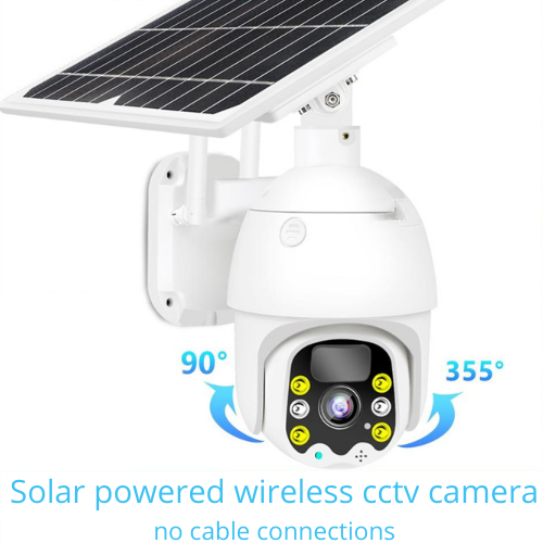Solar Pro Wireless Outdoor Solar Powered PTZ CCTV Camera with Motion Sensor No cabling | Mobile Phone app control
