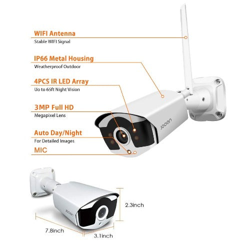 jooan 8 ch 4 wireless camera with nvr system camera spec