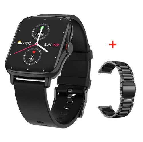 fuchusi gts 2 smart fitness watch with silver metal strap