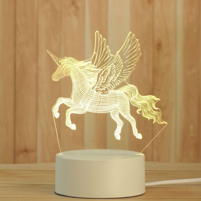 Unicorn 3D Illusion LED Night Light Gift Table Lamp