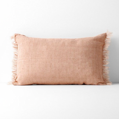 Vintage Linen Fringe Rectangle Cushion - Clay