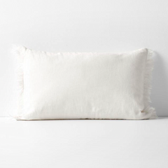 Vintage Linen Fringe Rectangle Cushion - Marshmallow