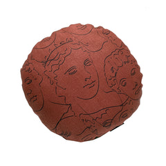 Faces Round Cushion - Rust