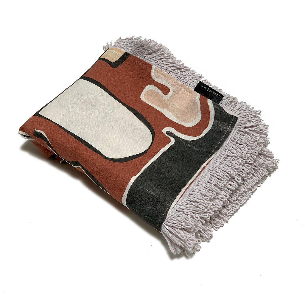 Shapes Linen Throw - Rust