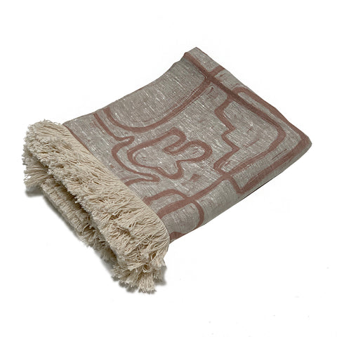 Abstract Linen Throw - Nude Oatmeal