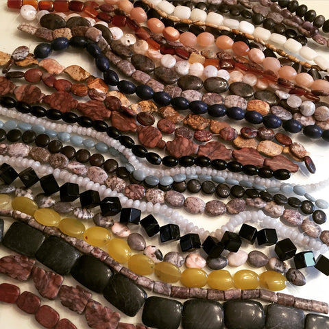 A Collection of Strung Chunky Gemstone Beads
