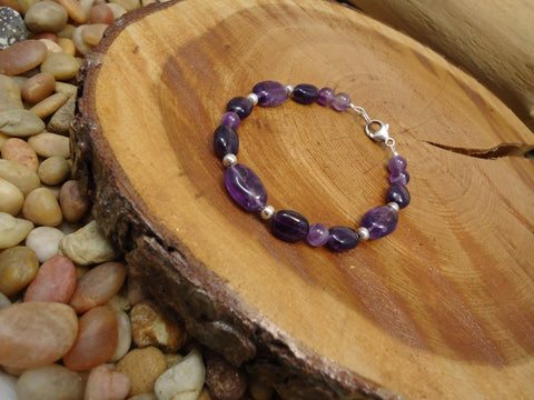 Amethyst Bead Bracelet 925 - Augmented Gem Jewelry