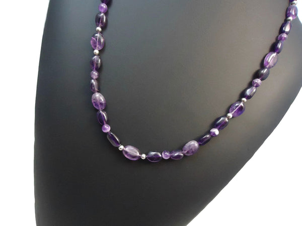 Amethyst Pebble Necklace 925 - Augmented Gem Jewelry