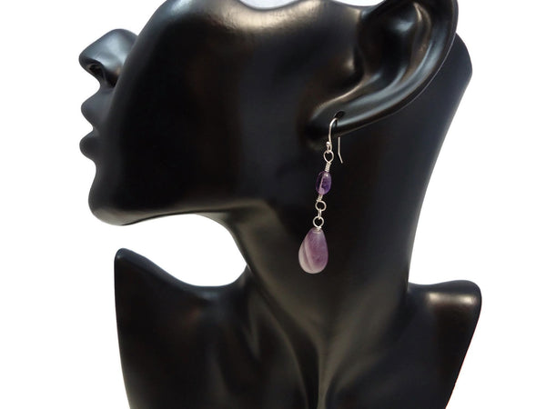 Amethyst Teardrop Dangles - Augmented Gem Jewelry