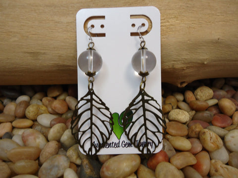 Bronze Leaf Earrings Quartz - Augmented Gem Jewelry