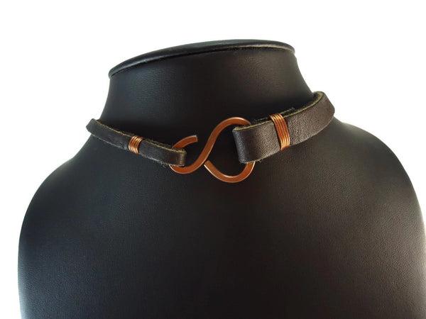 Brown Leather Pendant Necklace - Augmented Gem Jewelry