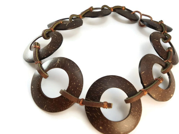 Chunky Coconut Shell Necklace - Augmented Gem Jewelry