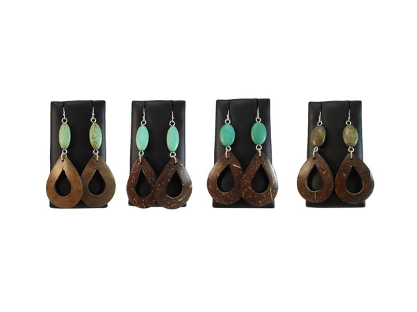Coconut Shell Earrings Green - Augmented Gem Jewelry