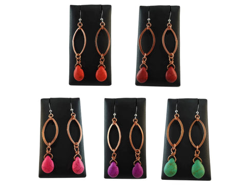 Colourful Copper Drop Earrings - Augmented Gem Jewelry