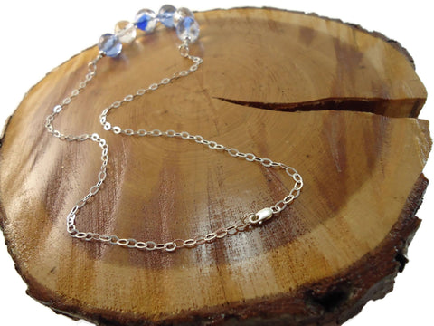Cool Blue Necklace 925 Chain - Augmented Gem Jewelry
