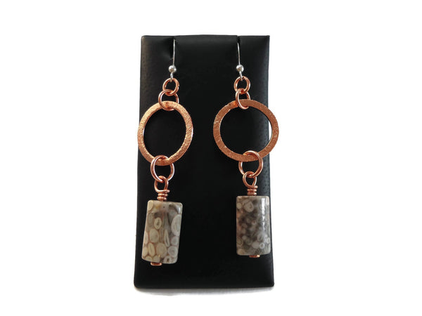 Copper Ring + Stone Dangles - Augmented Gem Jewelry