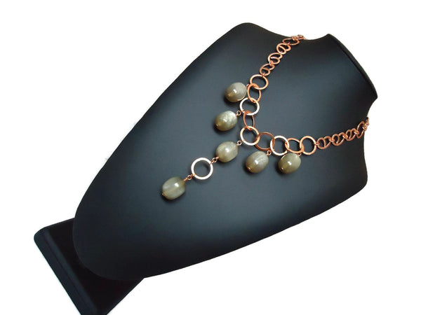 Copper Y Chain Link Necklace - Augmented Gem Jewelry