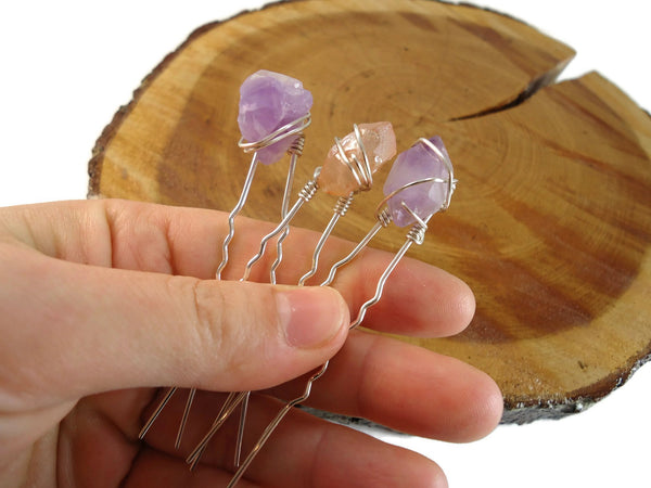 Crystal Chunk Hair Pins Set of 3 - Augmented Gem Jewelry